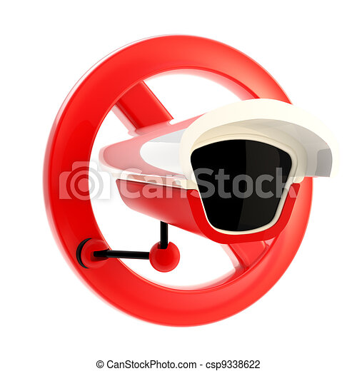 Closed circuit television forbidden sign isolated - csp9338622