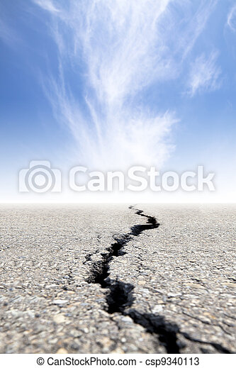 cracked road with cloud background - csp9340113