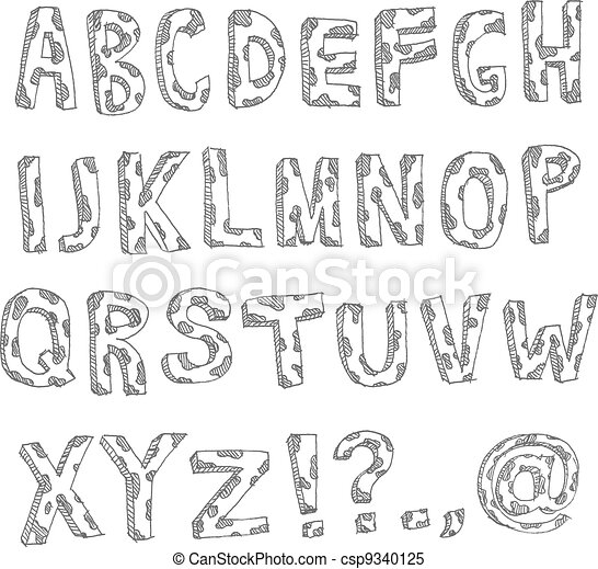 Hand drawn spotted alphabet - csp9340125