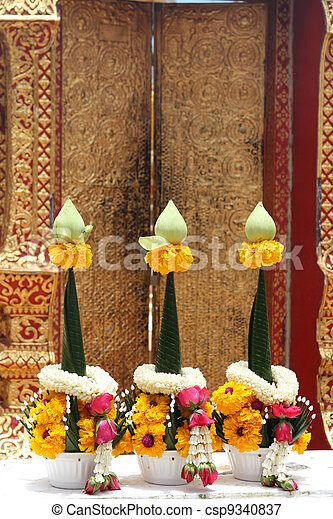 Flower garland for Buddhist worship - csp9340837