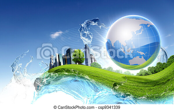 Green planet against blue sky and clean nature - csp9341339