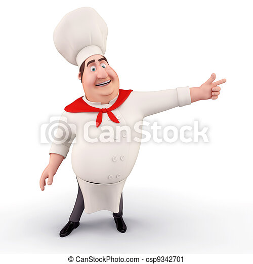 Chef pointing towards blank - csp9342701