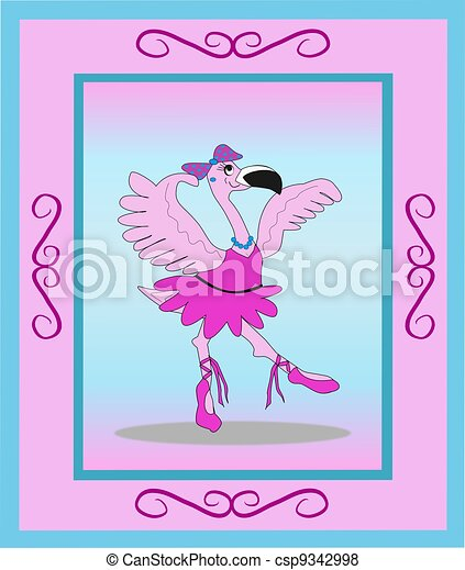 illustration de ballerine cadre flamant rose. Black Bedroom Furniture Sets. Home Design Ideas