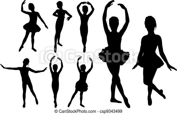 Ballet girls dancers silhouettes  - csp9343499