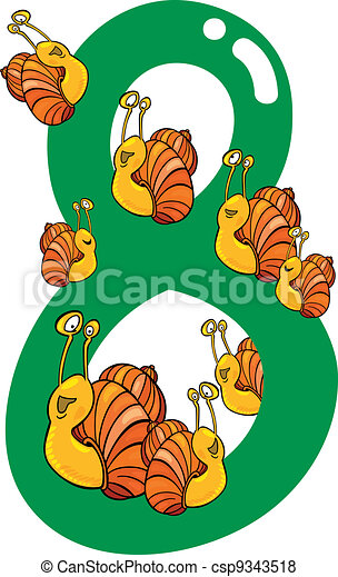 number eight and 8 snails - csp9343518