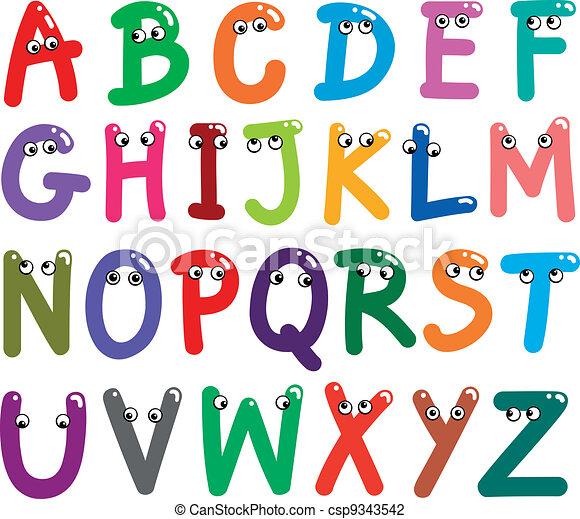 Funny Capital Letters Alphabet - csp9343542
