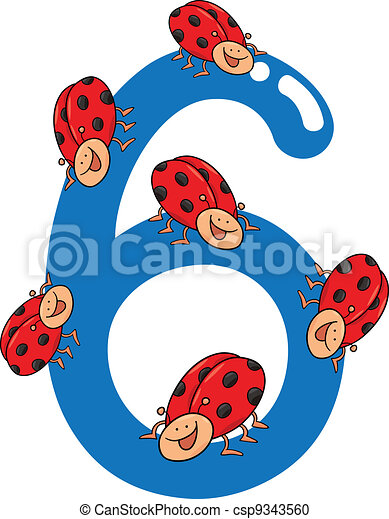 vector number six and 6 ladybug
