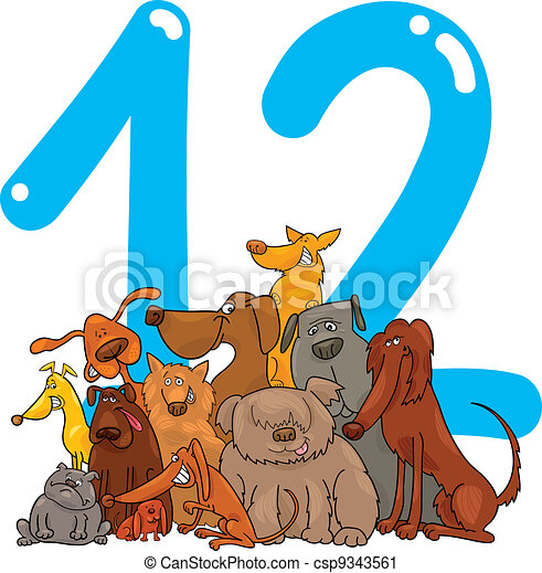 Vector Clip Art of number twelve and 12 dogs - cartoon illustration ...