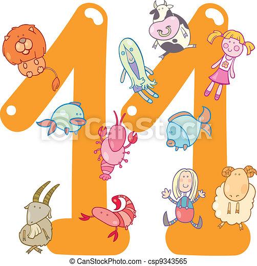 卡通漫画, 描述, 带, 数字, 十一, 同时,, 玩具