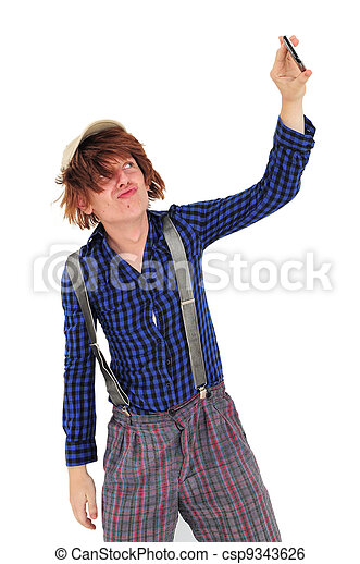 Guy in funny clothes taking self portrait - csp9343626