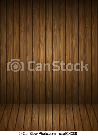 Wooden planks interior. Vector illustration. - csp9343881