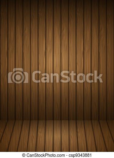 Wooden planks interior. Vector illustration. - csp9343881
