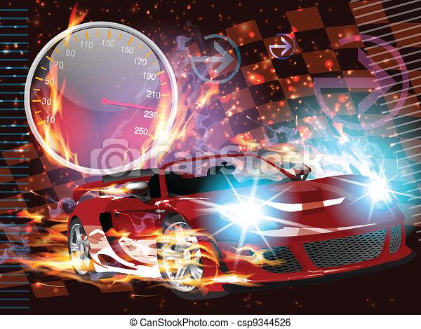 Speeding Race Car - csp9344526