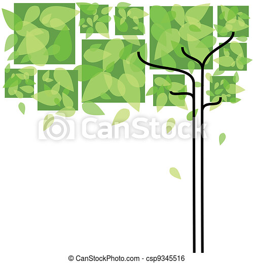 Abstract springtime green tree - csp9345516