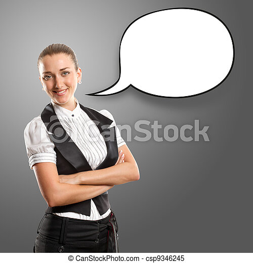 Business Woman With Speech Bubble