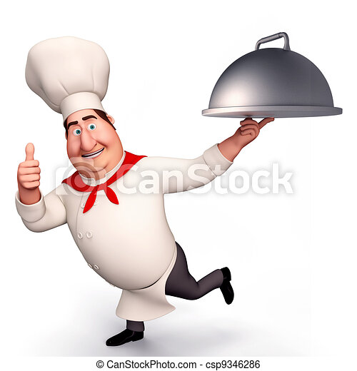 CHEF RUNNING WITH POT - csp9346286