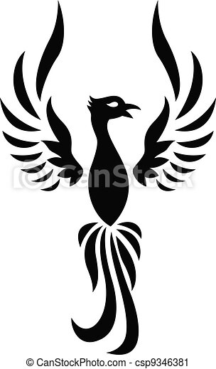 Vector Clip Art Of Phoenix Tattoo Silhouette Csp9346381 Search Illustration Drawings And Eps