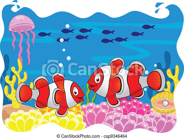 Clown fish cartoon - csp9346464