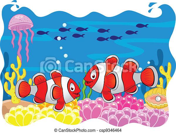 Clown fish cartoon - csp9346464