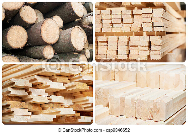 Set of wood lumber materials - csp9346652
