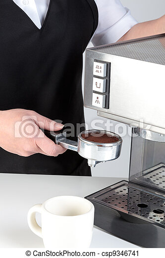 Barista using an espresso machine. - csp9346741