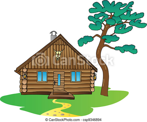 Wooden cabin and pine tree - csp9346894