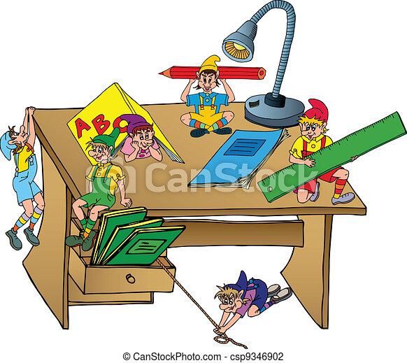 Tisch schule clipart  Vektor Illustration von tisch, schule, elfen - Elves, auf, schule ...