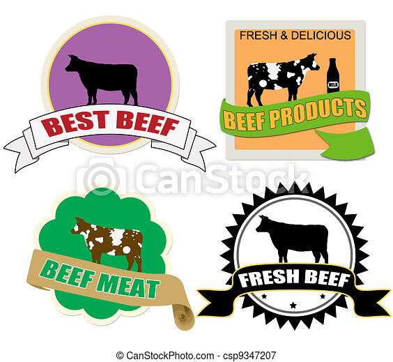 Stickers set with beef meat - csp9347207
