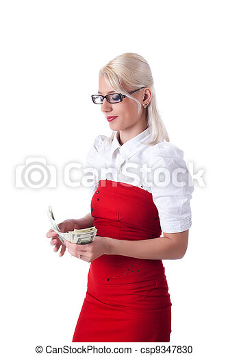Beauty blond  business woman count dollars - csp9347830