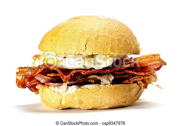 Bacon and egg bun.  - csp9347978