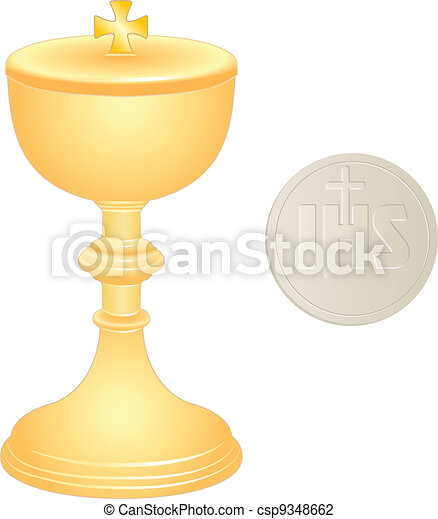 liturgical golden chalice and wafer - csp9348662