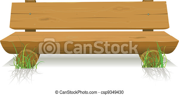Vector Clipart of Wood Bench - Illustration of a cartoon wooden bench ...