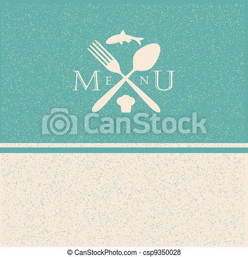 restaurant menu retro poster - csp9350028