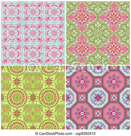 Victorian Colors vector clipart of seamless vintage background collection