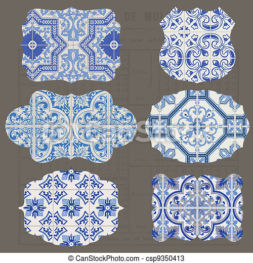 Vintage Tiles Design elements for scrapbook - Old tags and frames in vector - csp9350413