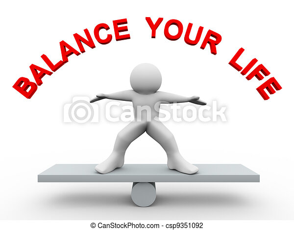 3d man - balance your life - csp9351092