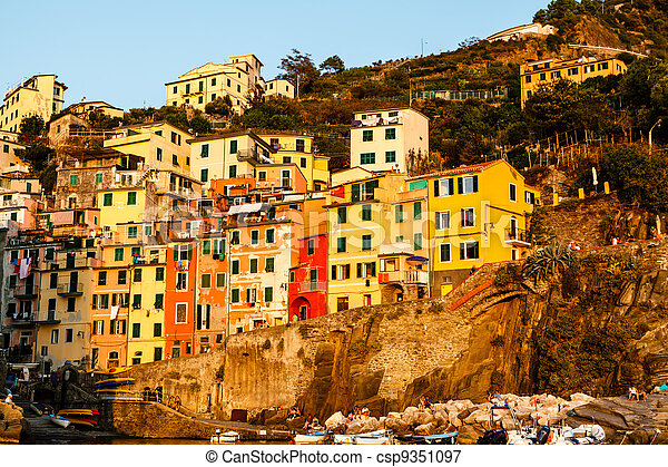 Sunset in the Village of Riomaggiore in Cinque Terre, Italy - csp9351097