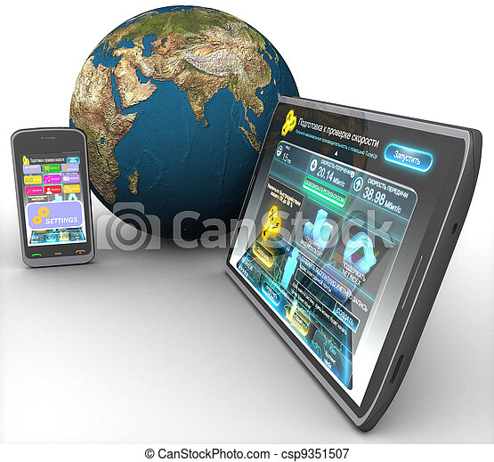 3d computer tablet, phone and land on a white background isolated - csp9351507