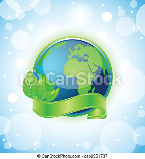 Green earth with leaves wrapped ribbon - csp9351737