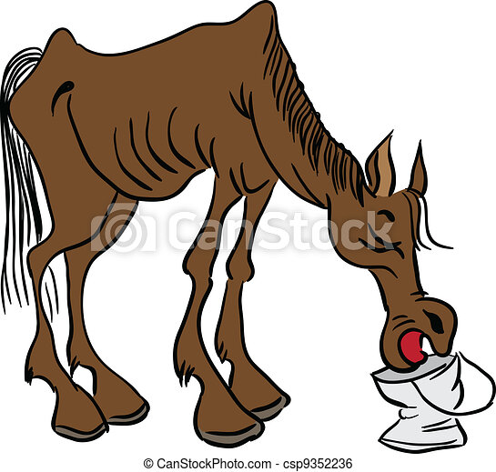 Skinny Horse Drawing Skinny Cowboy Horse Drinks