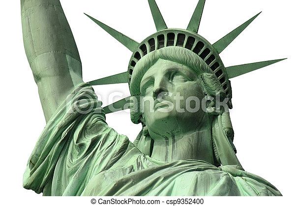 Statue of Liberty Close Up Isolated - csp9352400