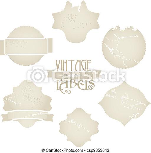 Vector scratched vintage labels set - csp9353843
