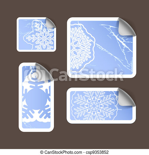 Aged scratched paper stickers - csp9353852
