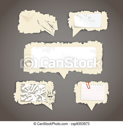 Scratched paper speech clouds - csp9353973