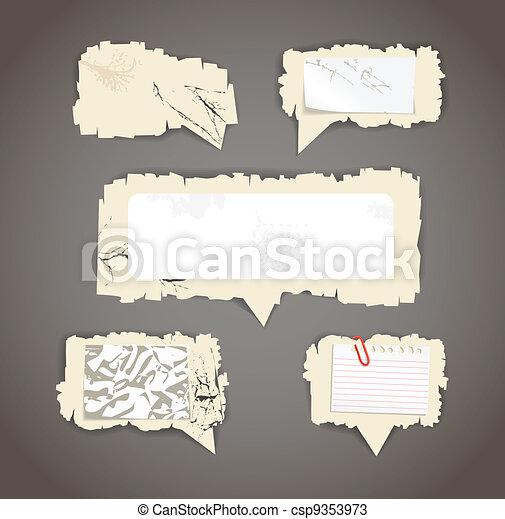 Scratched paper speech clouds - csp9353973