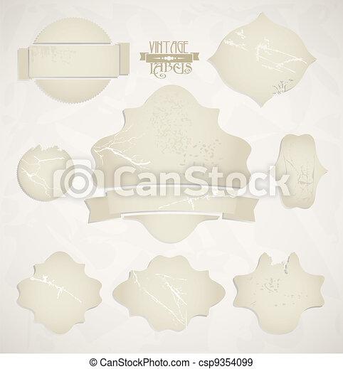 Vector scratched vintage labels se - csp9354099