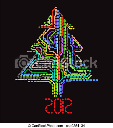 Abstract dotted christmas tree - csp9354134