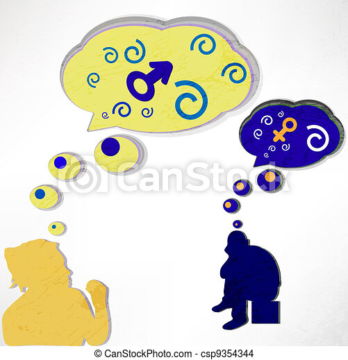 a woman thinks about a man and a man thinks about it. Love, thoughts and bubbles. the vector. - csp9354344