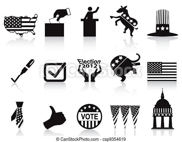 black election icons set - csp9354619