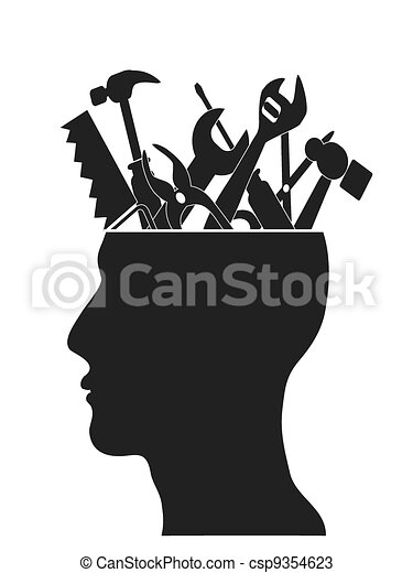 Hand tools in head - csp9354623